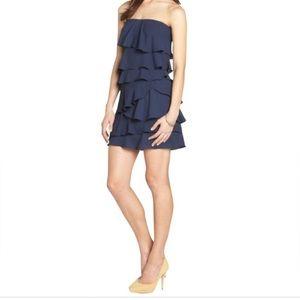BCBG Maxazria Strapless ruffle dress.Navy Blue